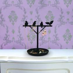 Smykkeholder med fugle - sort