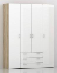 Space Garderobeskab - Lys træ/Højglans m/4 låger