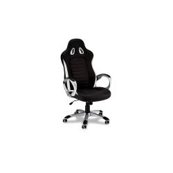 Speedy 2 gaming stol - sort og hvid kunstlæder, m. armlæn