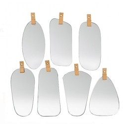 Spejl med læder strop