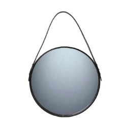 Spejl med sort læder - 40 cm
