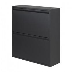 SPINDER DESIGN rektangulær Billy skoskab, m. 2 låger - sort stål