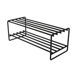 SPINDER DESIGN rektangulær Clint skohylde, m. 2 hylder - sort stål