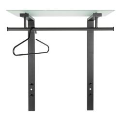 SPINDER DESIGN rektangulær Dutch knagerække, m. 1 hylde - glas og sort stål