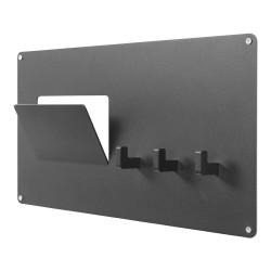 SPINDER DESIGN rektangulær Leatherman knagerække, m. 3 knager - sort stål