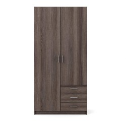 Sprint garderobeskab - antracitgrå egetræsfinér, m. 2 låger og 3 skuffer