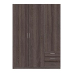Sprint garderobeskab - antracitgrå egetræsfinér, m. 3 låger og 3 skuffer