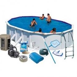 Swim & Fun familiepool - Hvid Stål - 16.210 liter - Deluxepakke