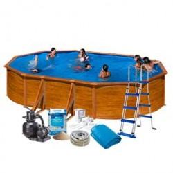 Swim & Fun familiepool - Imiteret træ - 20.893 liter
