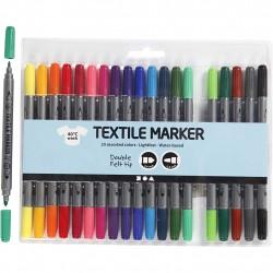 Tekstiltusch, stregtykkelse, 2,3+3,6 mm, 20 stk