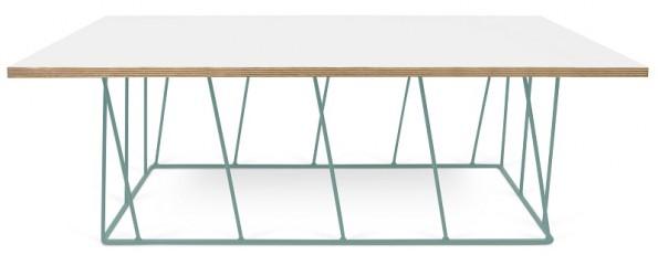 Temahome - Helix Sofabord - Hvid m/grønt stel 120x75