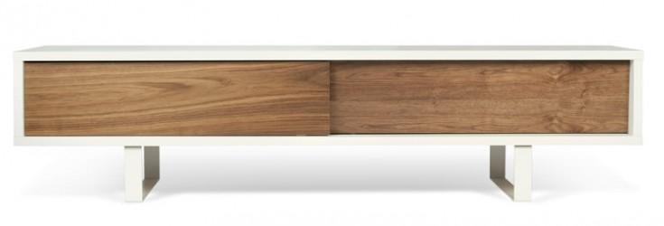 Temahome - Slide TV-bord - Hvid m. Valnød finér