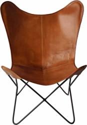 TRADEMARK LIVING Cool loungestol - ægte brunt læder