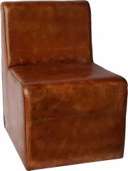 Trademark Living Cool loungestol i brunt læder