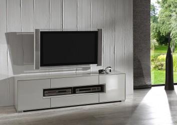 TV-bord - grå/taupe højglans, m. 2 låger og 2 skuffer
