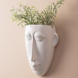 Urtepotte til væg - Mask hvid