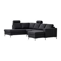Valdis U-sofa højrevendt sort