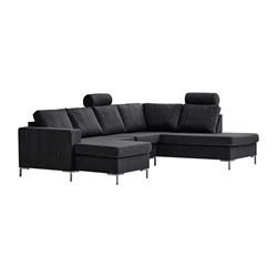 Valdis U-sofa venstrevendt, sort