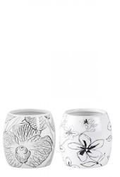 Vase - m. blomst - Usorteret - Keramik - Hvid - Sort - D 10,0cm - H 10,0cm - Stk.