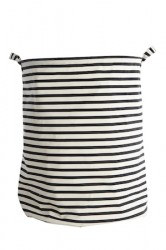 Vaskekurv Stripes Ø 40x50 cm - Sort/Hvid