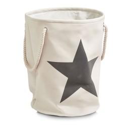 Vasketøjskurv med stjerne - beige