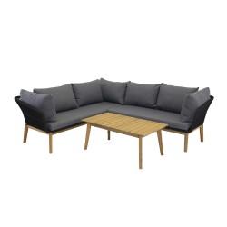 VENTURE DESIGN Chania udendørs sofasæt - natur akacietræ og sort stål