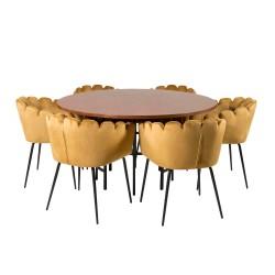 VENTURE DESIGN Copenhagen spisebordssæt, m. 4 stole - brun finer/sort metal og gul fløjl/sort metal