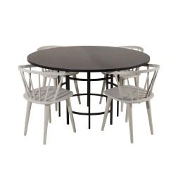 VENTURE DESIGN Copenhagen spisebordssæt, m. 4 stole - sort finer/sort metal og grå gummitræ