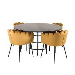 VENTURE DESIGN Copenhagen spisebordssæt, m. 4 stole - sort finer/sort metal og gul fløjl/sort metal