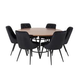 VENTURE DESIGN Copenhagen spisebordssæt, m. 6 stole - brun finer/sort metal og sort fløjl/sort metal