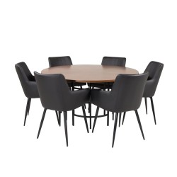 VENTURE DESIGN Copenhagen spisebordssæt, m. 6 stole - brun finer/sort metal og sort PU/sort metal