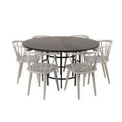 VENTURE DESIGN Copenhagen spisebordssæt, m. 6 stole - sort finer/sort metal og lysegrå gummitræ