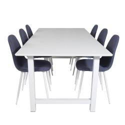 VENTURE DESIGN Count spisebordssæt, m. 6 stole - hvid MDF/hvid metal og blå stof/hvid metal
