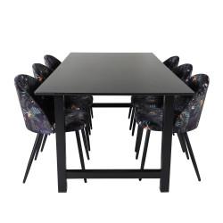 VENTURE DESIGN Count spisebordssæt, m. 6 stole - sort MDF/sort metal og multi stof/sort metal