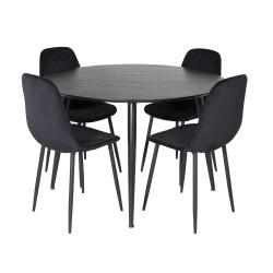 VENTURE DESIGN Dipp spisebordssæt, m. 4 stole - sort finer/messing sort metal, sort fløjl/sort metal