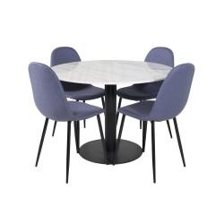 VENTURE DESIGN Estelle spisebordssæt, m. 4 stole - hvid marmor/sort metal og blå stof/sort metal