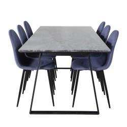 VENTURE DESIGN Estelle spisebordssæt, m. 6 stole - sort marmor/sort metal og blå stof/sort metal