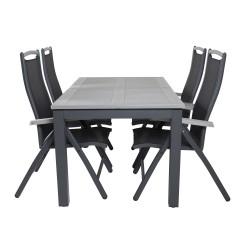 VENTURE DESIGN havesæt, m. Albany bord, m. udtræk og 4 Albany 5:pos stole - grå aintwood/sort alu