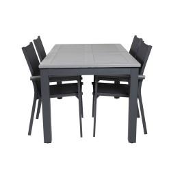 VENTURE DESIGN havesæt m. Albany bord m. udtræk og 4 Parma stole m. armlæn - sort alu/grå aintwood