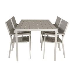 VENTURE DESIGN havesæt m. Break bord (150x90) og 4 Levels stole m. armlæn - hvid alu/ grå aintwood