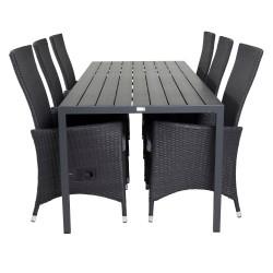 VENTURE DESIGN havesæt, m. Break bord (205x90) og 6 Padova recliner stole - aintwood/alu/flet