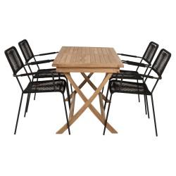 VENTURE DESIGN havesæt, m. Kenya bord (120x70) og 4 Lindos stole - natur teak/sort reb/sort alu