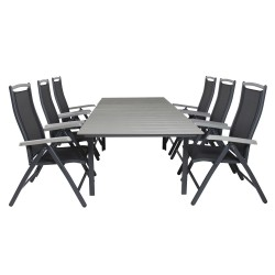 VENTURE DESIGN havesæt, m. Levels bord, m. udtræk og 6 Albany 5:pos. stole - aintwood/alu/textilene