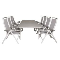 VENTURE DESIGN havesæt m. Levels bord m. udtræk og 8 Albany stole m. recliner - grå aintwood/textile