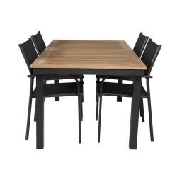 VENTURE DESIGN havesæt m. Panama bord m. udtræk og 4 Santorini stole m. armlæn - teak/sort textilene