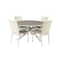VENTURE DESIGN havesæt m. Parma bord (Ø140) og 4 Anna stole m. armlæn - hvid alu/rattan/grå aintwood