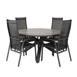VENTURE DESIGN havesæt m. Parma bord (Ø140) og 4 Copacabana stole m. recliner - sort alu/textilene