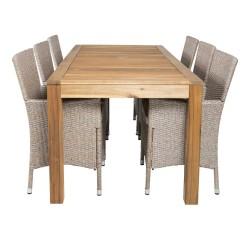 VENTURE DESIGN havesæt, m. Peter bord (200x90) og 6 Knock stole, m. armlæn - akacie/flet