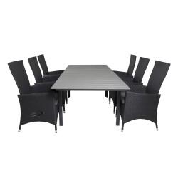 VENTURE DESIGN havesæt, m.Levels bord, m. udtræk og 6 Padova recliner stole - aintwood/alu