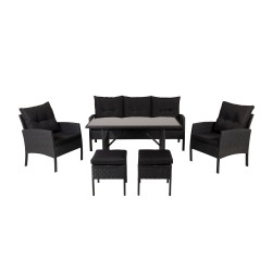 VENTURE DESIGN Knock sofasæt - sorte hynder og sort glas, polyrattan og stål